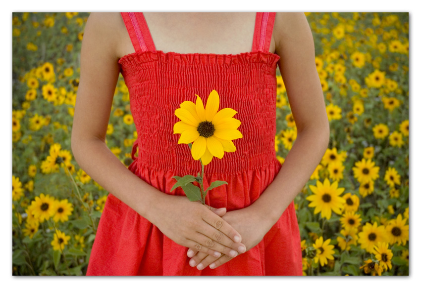 Girl with red dress holding sunflower Flagstaff Arizona