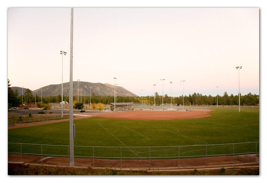 Baseball field and Mount Elden Flagstaff Arizona