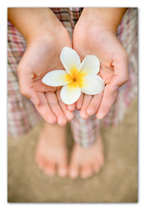 Close up of girl holding plameria flower Poipu Beach Hawaii